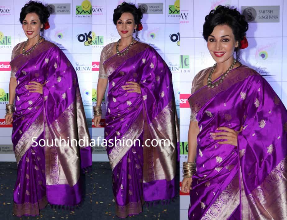 flora saini in purple banarasi silk saree