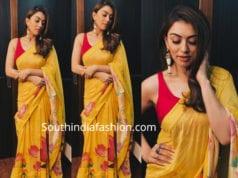 hansika yellow saree