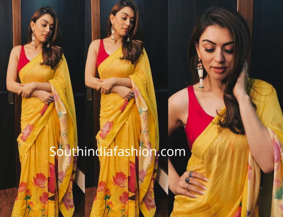 hansika yellow saree