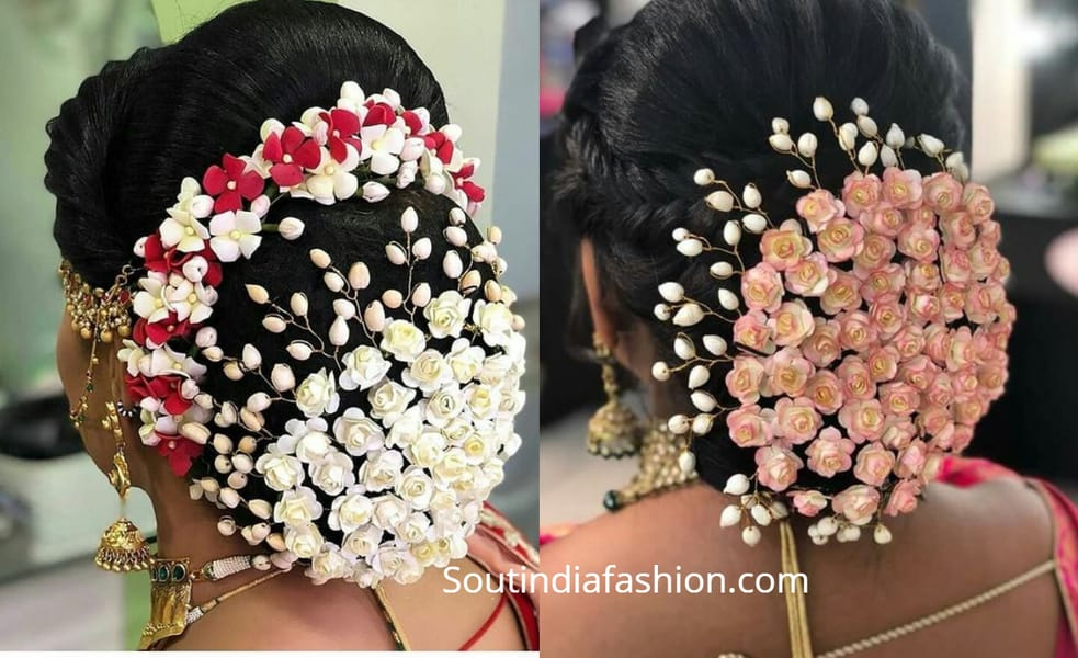 indian hair bun covered with flowers