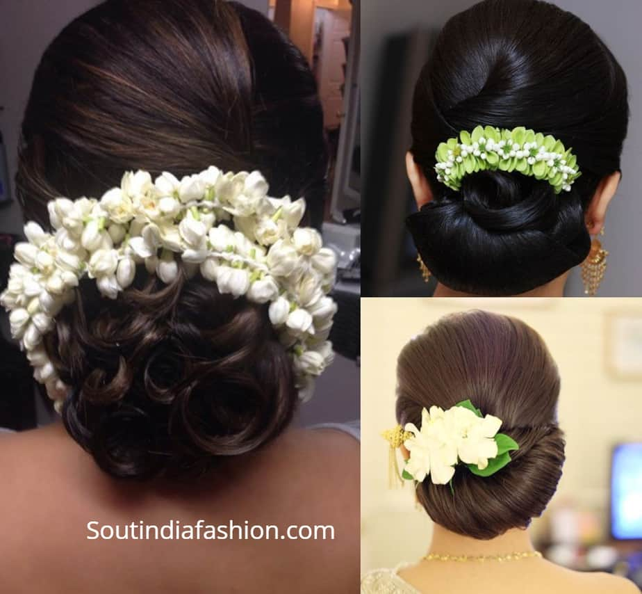 indian spiral bun with flowers