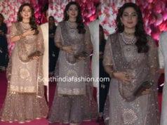 juhi chawla grey sharara suit at azhar morani wedding reception