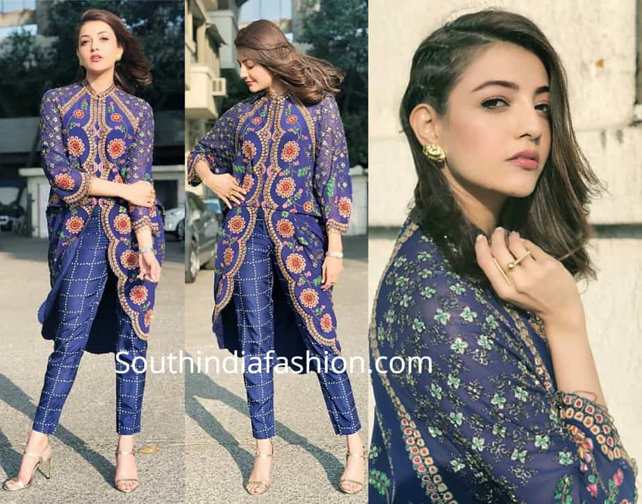 kajal aggarwal in blue dress by nupur kanoi