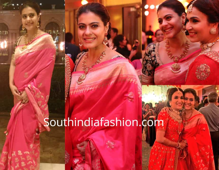 kajol in pink banarasi saree at rajinikanth daughter wedding reception
