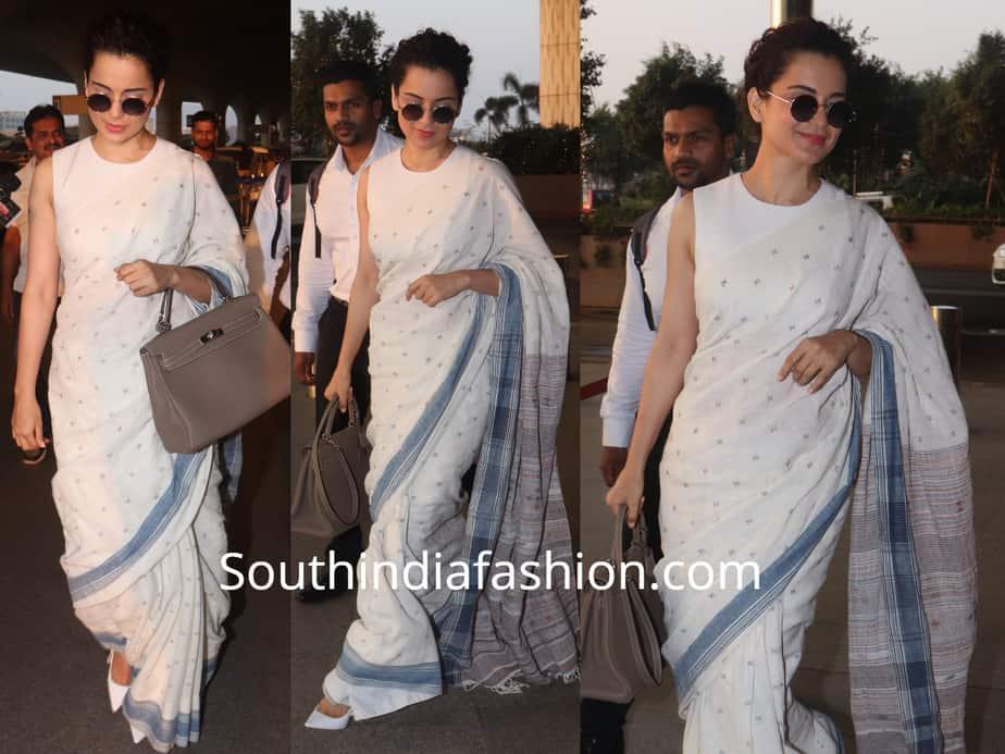 kangana ranaut in white saree at airport