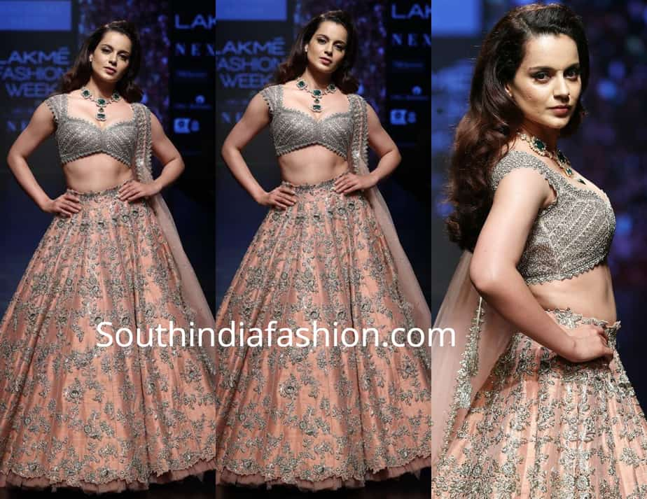 kangana ranaut in anushree reddy lehenga at lakme fashion week 2019