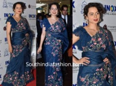 kangana ranaut blue organza saree with ruffle blouse