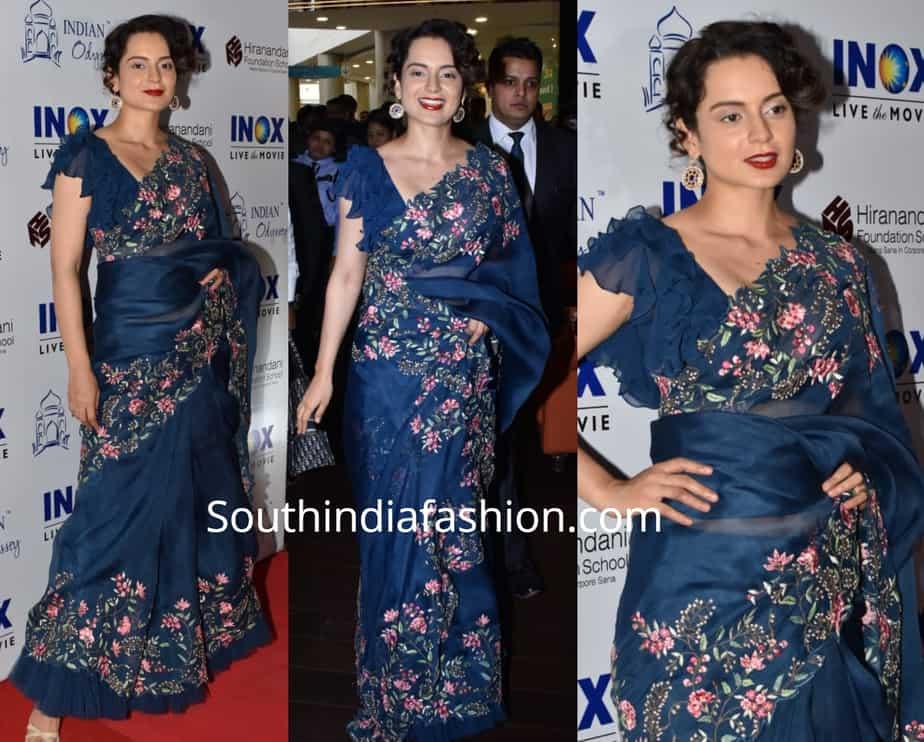 kangana ranaut blue organza saree with ruffle blouse