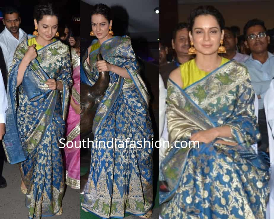 kangana ranaut in blue silk saree at manikarnika screening by bse
