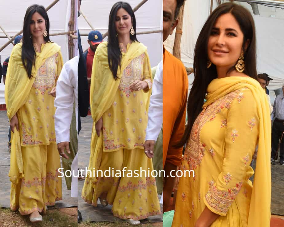 katrina kaif in yellow sharara at anurag basu saraswati puja