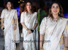 keerthy reddy in white banarasi silk saree at gudi sambaralu