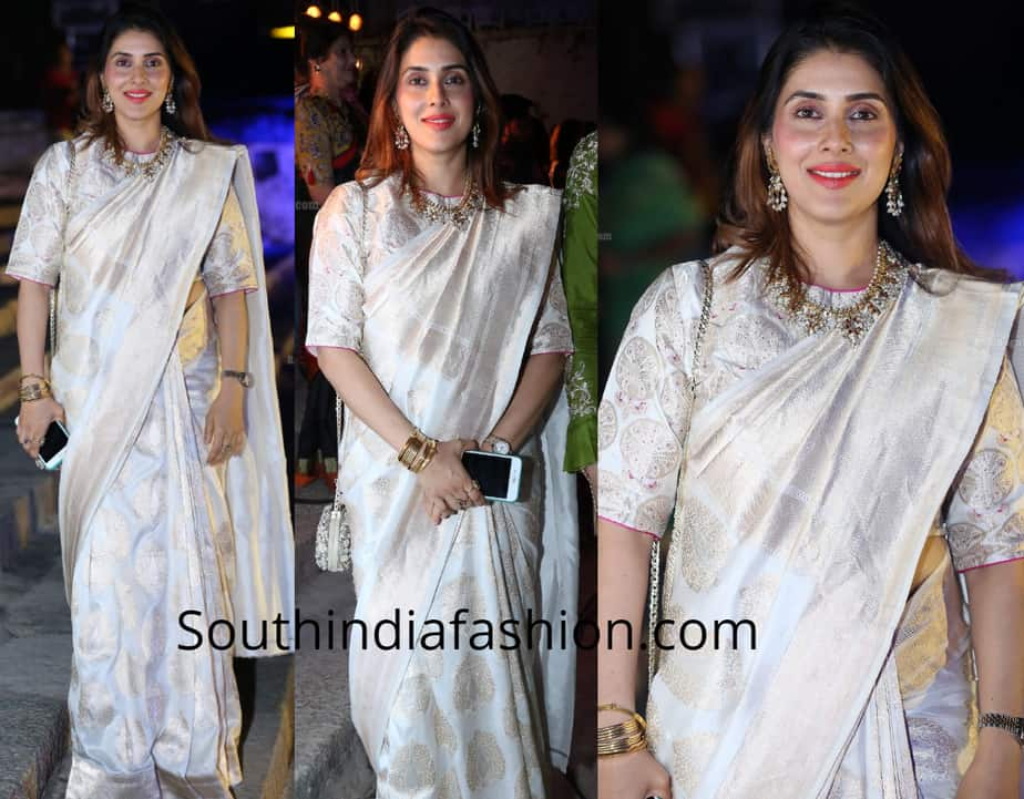 d080202e3c2d5b Keerthy Reddy in a white silk saree. By. southindiafashion