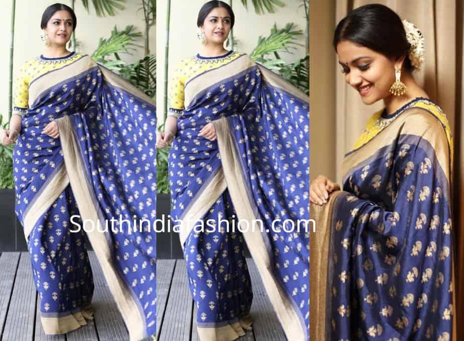 keerthy suresh blue banarasi silk saree