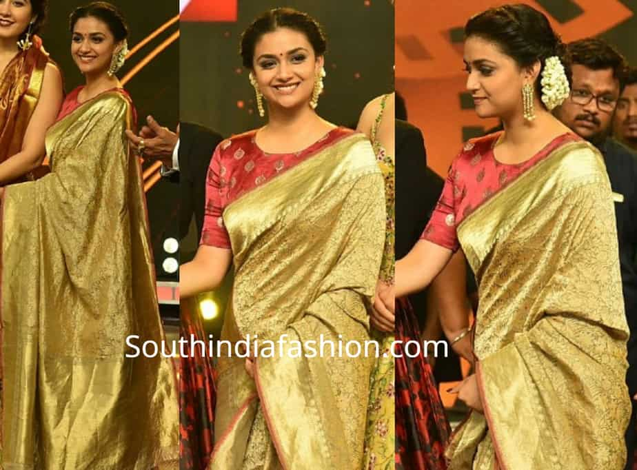 keerthy suresh in gold silk saree at tsr tv 9 awards