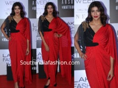 lakshmi manchu in red saree drape at lakme fashion week 2019