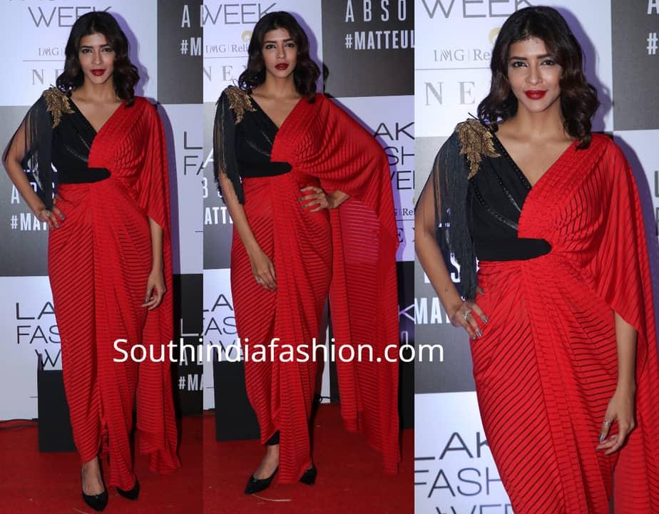 lakshmi manchu in red saree drape at lakme fashion week 2019