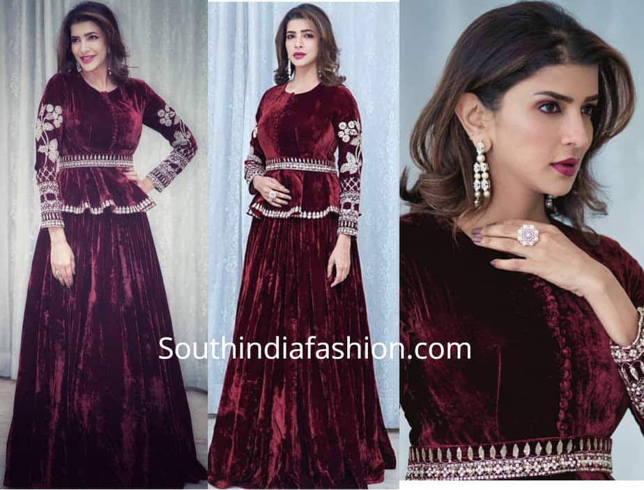 lakshmi manchu in red velvet lehenga pepoum top