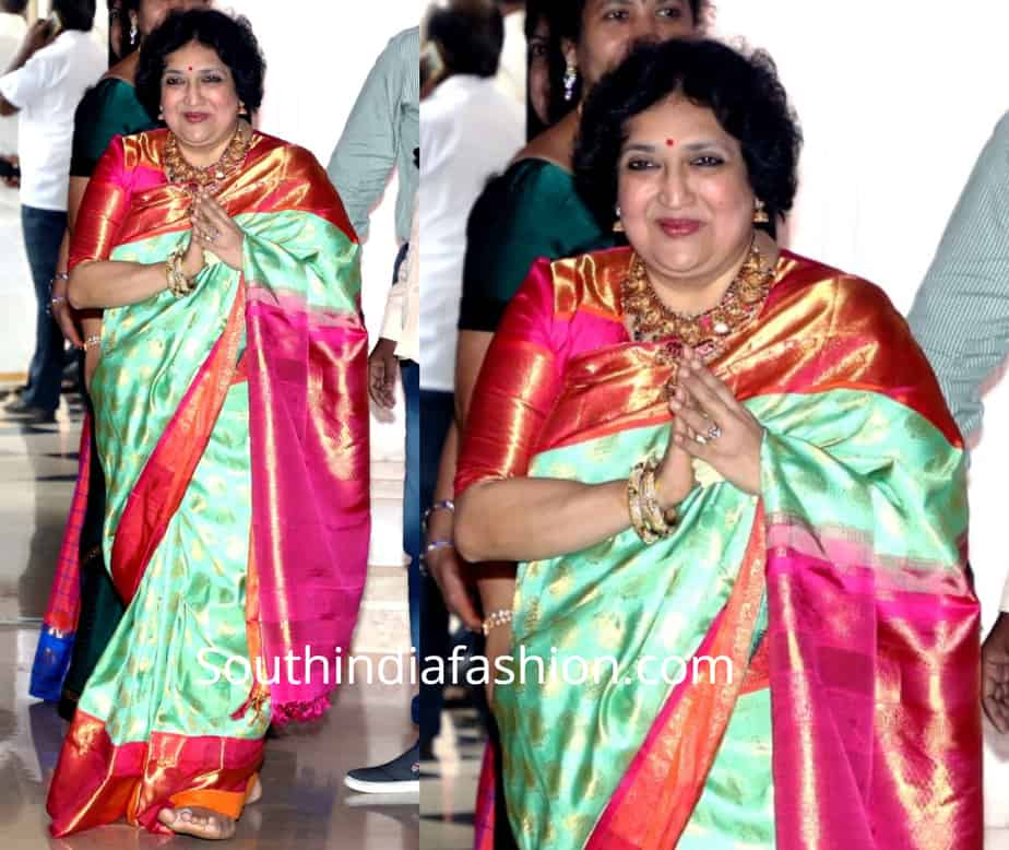 latha rajinikanth saree in her daughter soundarya wedding