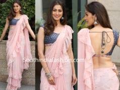 laxmi raai in pink ruffle saree