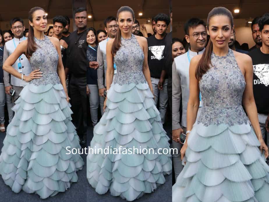 malaika arora blue gown lakme fashion week