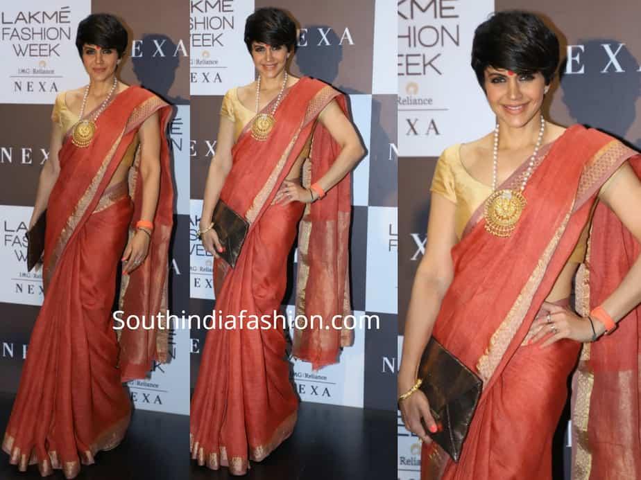 mandira bedi orange-saree lakme fashion week