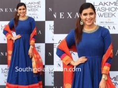 mannara chopra in blue anarkali at lakme fashion week 2019