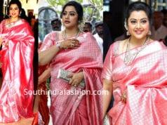 meena in pink kanjeevaram saree at soundarya rajinikanth wedding