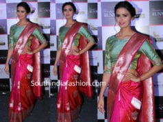 meenakshi dixit in pink banarasi silk saree by sailesh singhania