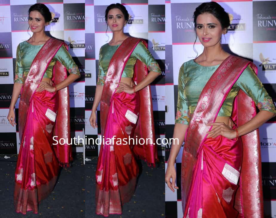 meenakshi dixit in pink banarasi silk saree by sailesh singhania