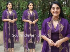 nivetha thomas in purple salwar suit by Raw Mango at 118 pre release event