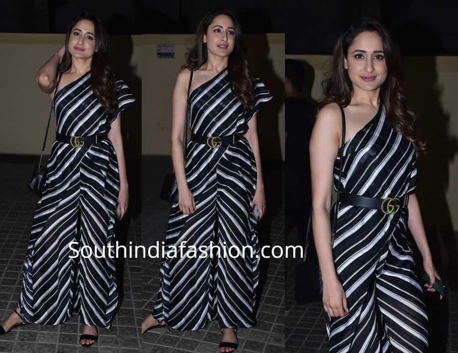 pragya jaiswal black and white jumpsuit