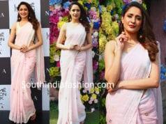 pragya jaiswal in pink linen saree at lakme fashion week 2019