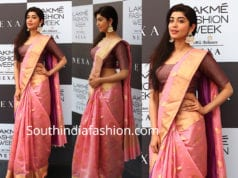 pranita subhash pink silk saree at lakme fashion week