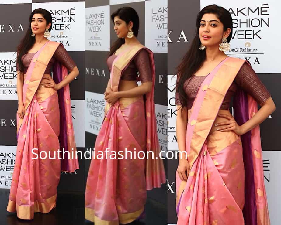 pranita subhash pink silk saree at lakme fashion week