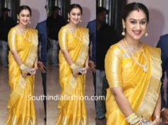 pritha hari yellow kanjivaram saree at soundarya rajinikanth wedding