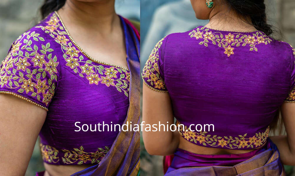 latest maggam work blouse designs for silk sarees