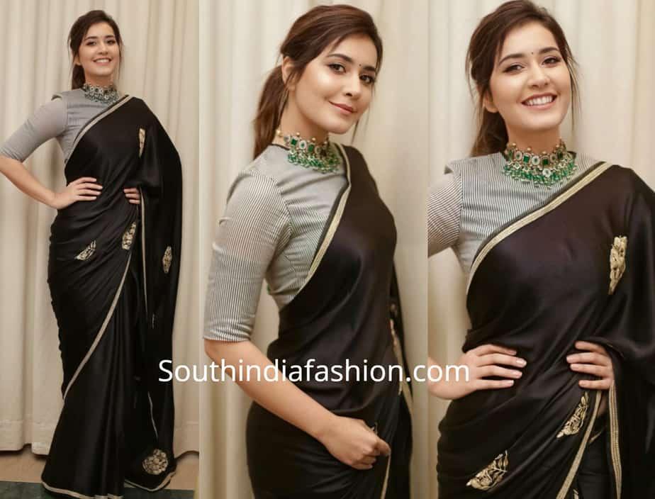 raashi khanna in black saree