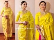 rakul preet singh in yellow silk saree at tsr tv9 awards