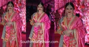 rekha in pink sharara suit at azhar morani wedding reception