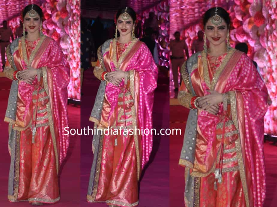 rekha in pink sharara suit at azhar morani wedding reception