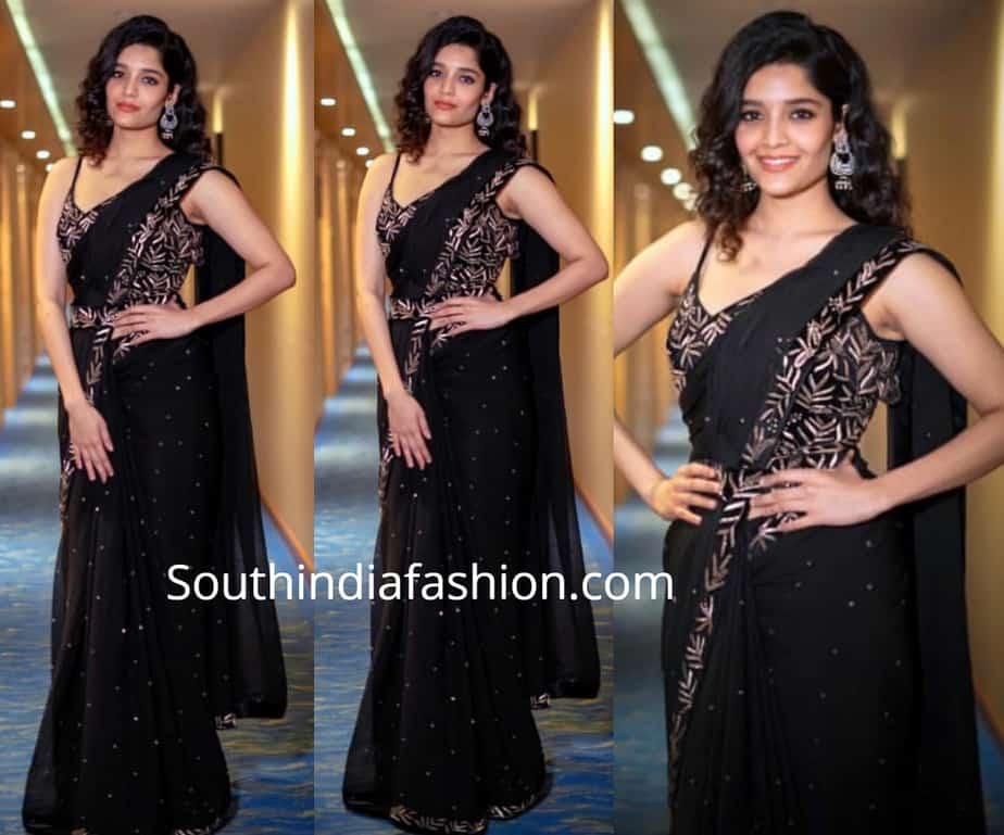 rithika black saree tsr tv9 awards