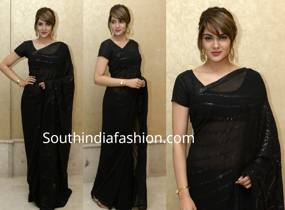 sakshi chaudhary black saree