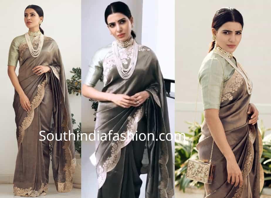 samantha akkineni in grey tissue saree by ekaya