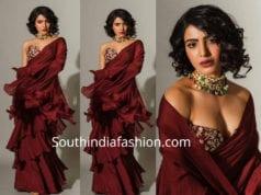 samantha akkineni in maroon ruffle saree by shilpa reddy