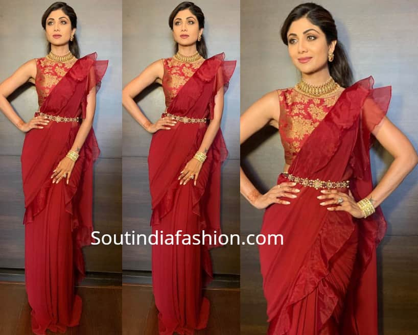 shilpa shetty in fusion saree at her sister-in-law wedding