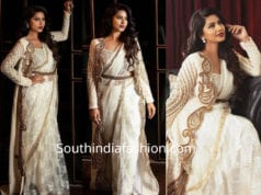 sneha prasanna in white saree with long jacket