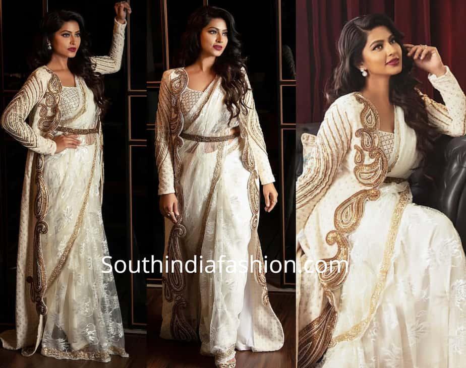 sneha prasanna in white saree with long jacket