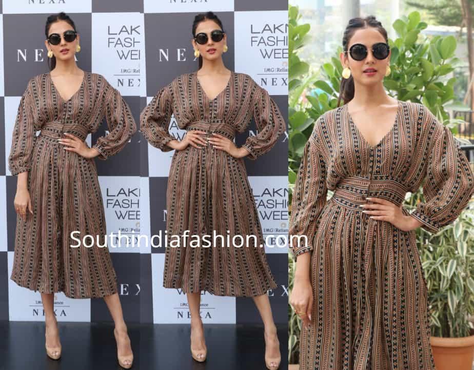sonal chauhan in punit balana printed dress