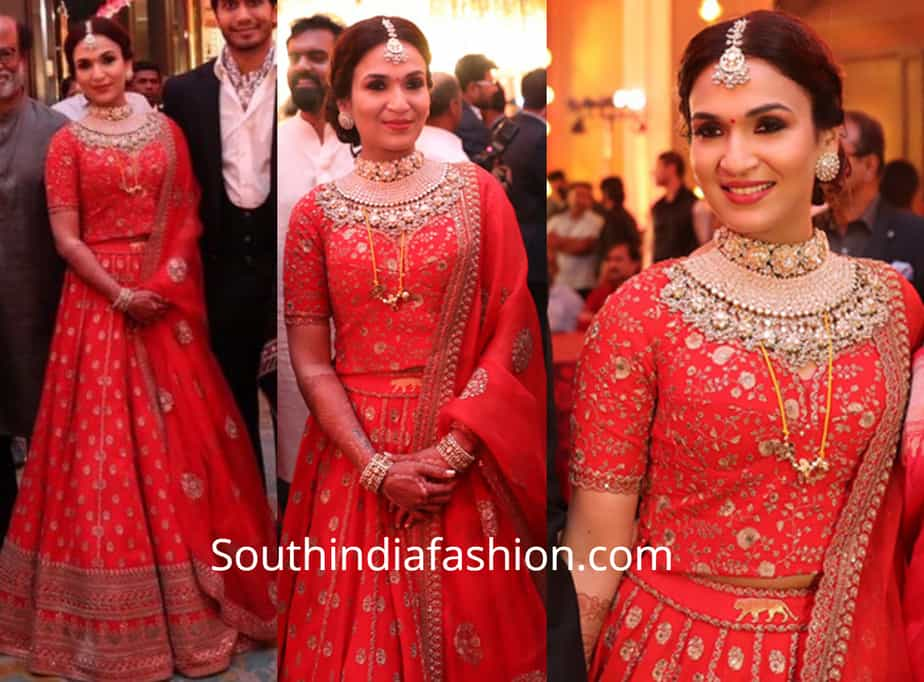 soundarya rajinikanth wedding reception lehenga