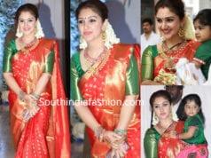 sridevi vijaykumar in red kanjivaram saree at soundarya vishagan wedding